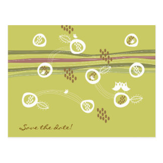 Retro Owls Family Save-the-Date Postcard