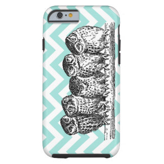 Retro Owls Perched on a Branch iPhone 6 case or Ca Tough iPhone 6 Case