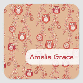 Retro Owls Square Name Stickers