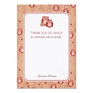 Retro Owls Thank You Flat Cards 9 Cm X 13 Cm Invitation Card