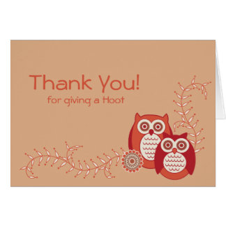 Retro Owls Thank You Note Note Card
