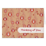 Retro Owls Thinking of You Card