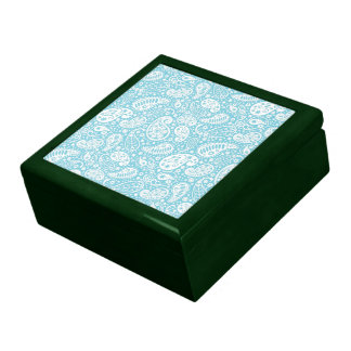 Retro Paisley in Teal Blue Large Square Gift Box