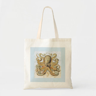 Retro Pale Blue & Yellow Octopus Print Tote Bag