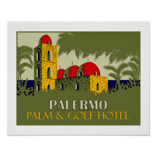 Retro Palermo Sicily hotel travel ad Poster