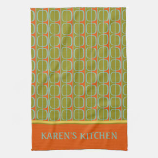 Retro Panels Personalized Tea Towel