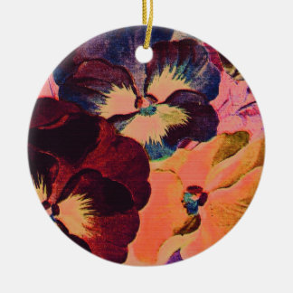 Retro Pansies Ceramic Ornament