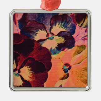 Retro Pansies Metal Ornament