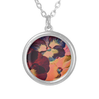 Retro Pansies Silver Plated Necklace