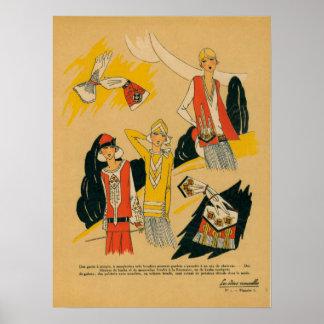 Retro Paris France Fashion Sketches #1 Poster