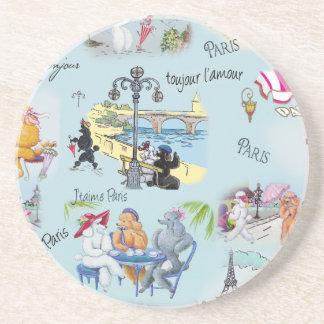 Retro Paris Poodle Collage Sandstone Coaster