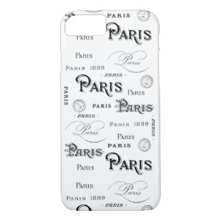 Retro Paris Words Typography French Stamp Postmark iPhone 7 Case