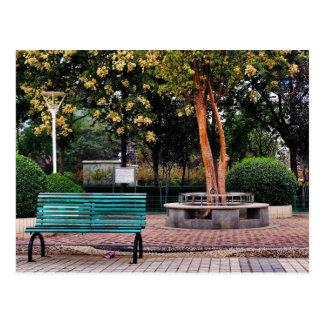Retro park bench postcard