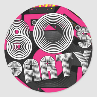 Retro Party Background Classic Round Sticker
