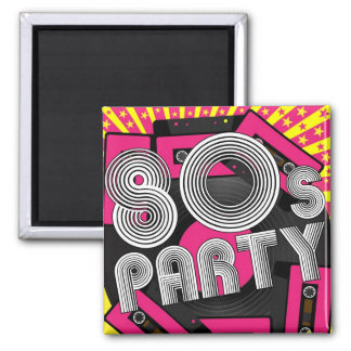 Retro Party Background Square Magnet