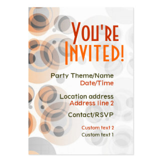 Retro Party Invite Card Pack Of Chubby Business Cards