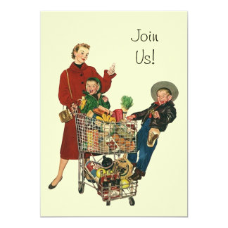 Retro Party Shopping Grocery Cart Full Invitation