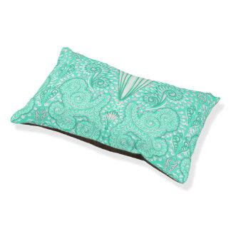 Retro pastel sea green pattern pet bed