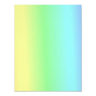 "Retro Pastel Stripes Blue Green Yellow 4.25"" X 5.5"" Invitation Card"