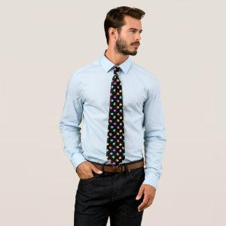 Retro Pastels & Black Graduation Cap Pattern Tie