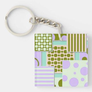 Retro Patchwork, green Double-Sided Square Acrylic Keychain