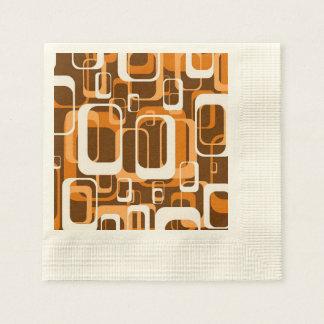 retro pattern 1971 orange paper napkin