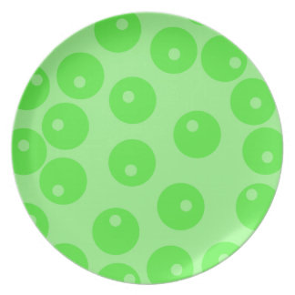 Retro pattern. Circle design in green. Party Plate