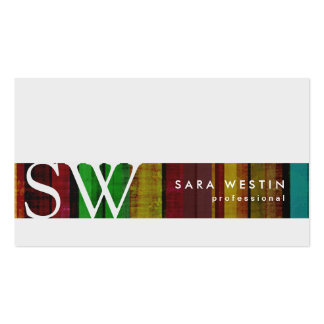 Retro Pattern Stripe Monogram Business Card