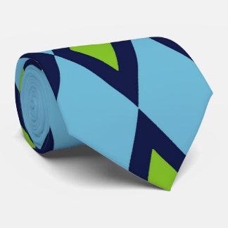 Retro Pattern Tie Blue White Green Diamonds