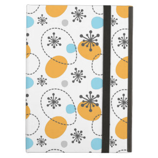 Retro pattern with colorful dots abstract flowers cover for iPad air