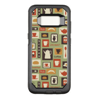 Retro pattern with kitchen dishes for breakfast OtterBox commuter samsung galaxy s8 case