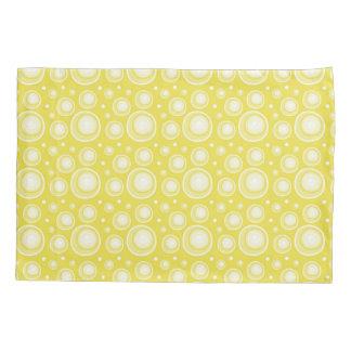 Retro Pattern  Yellow And White Polka Dots Pillowcase