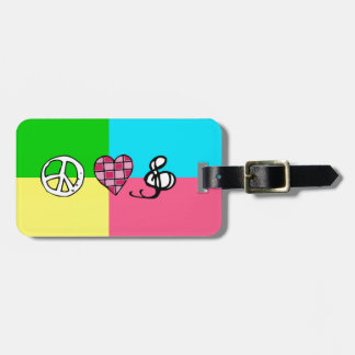 Retro Peace Love and Music Luggage Tag