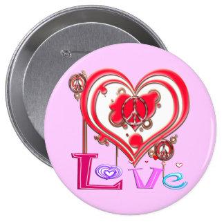 Retro Peace Love Buttons