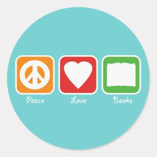 Retro Peace Love Books Stickers Dark