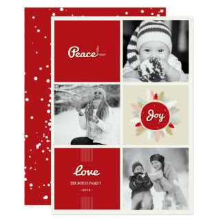 Retro Peace Love Joy Christmas Holiday Photo Card