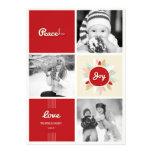 Retro Peace Love Joy Holiday Photo Greetings