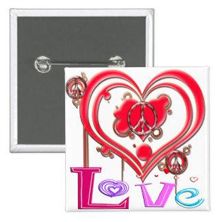 Retro Peace & Love Pin