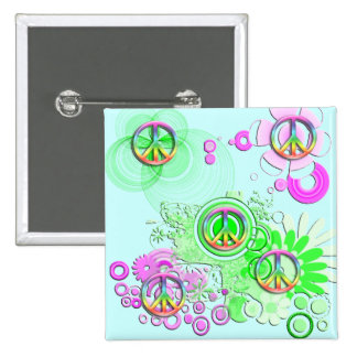 Retro Peace Sign Buttons