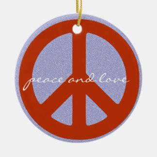 retro peace sign ceramic ornament
