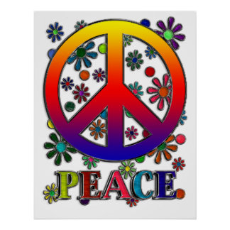 Retro Peace Sign & Flowers