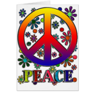 Retro Peace Sign & Flowers Greeting Card