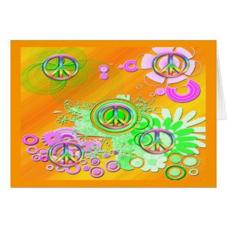 Retro Peace Sign Greeting Card