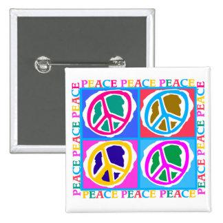 Retro Peace Sign Hippie Design Button