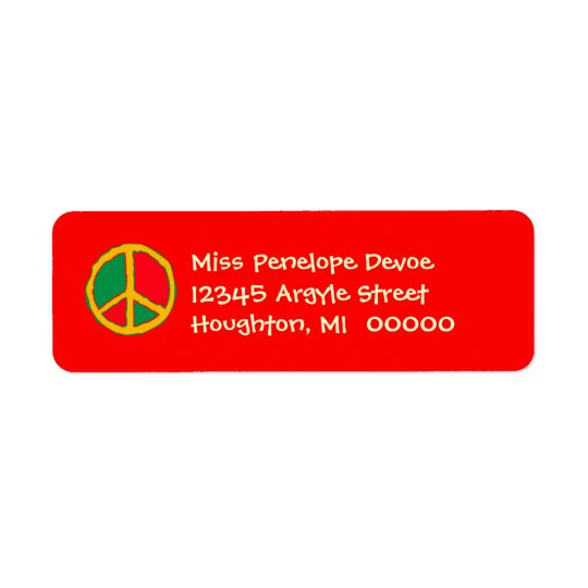 Retro Peace Sign in Bright Return Address Labels