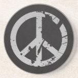 Retro Peace Sign in Leather Beverage Coaster