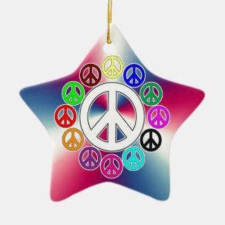 retro peace signs ceramic ornament