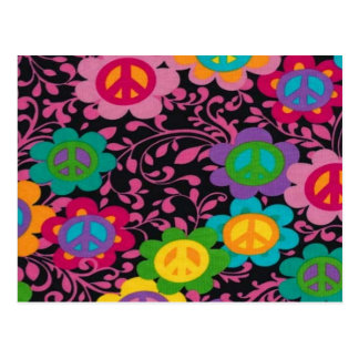 Retro Peace Signs Postcard