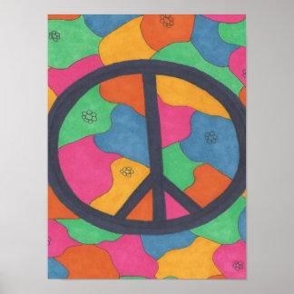 Retro Peace Symbol Art Poster