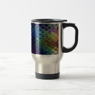Retro Peacock Tiles Iridescent Blue Purple Green Travel Mug